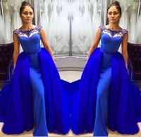 2018 ile Seksi Uzun Kraliyet Mavi Abiye giyim Çıkarılabilir Tren ile Boncuklu Kristal Kat Uzunluk Mermaid Gelinlik robe de soiree