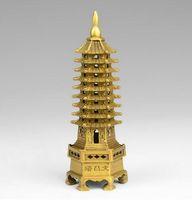 Çin tibet budizm tapınağı pirinç Wenchang Kulesi chedi stupa Pagoda heykeli dekorasyon metal el sanatları