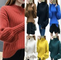 2018 Autumn Winter Solid Sweaters Knitted Lantern Sleeve Wom...