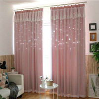 New Style Lace Stitching Hollow Star Blackout Curtain Fabric...
