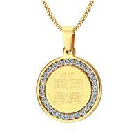 2018 Écritures islamiques religieux totem bijoux 29MM rond en acier inoxydable zircon véritable pendentif collier islamique or