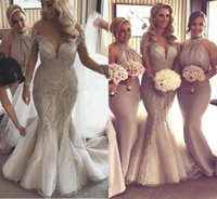 Plus Size abiti da sposa sirena Sheer Jewel Neck Pizzo Perline Appliques Corte dei treni Abiti da sposa Paese Long Beach maniche abito da sposa