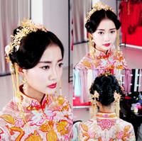 Çin Gelin Elbise Kostüm Takı Seti Düğün Saç Coronet kafa