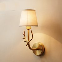 Amerikan Tam Bakır Geyik Kafa Duvar Lambaları E14 Duvar ışık Balkon Koridor Giriş Kapalı Koridor Lambası Ev aydınlatma WA088