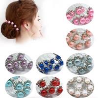 10Pcs / Set Bride Hair Pins Бусины Rhinestone Свадебные свадебные заставки для волос Зажимы для женщин Женские женские аксессуары для волос