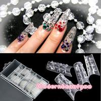 60 шт мозаика ногтей акриловые УФ-гель французский Flase стекловолокна длинные советы ясно