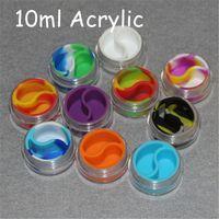 Toptan 3 ml 5 ml 10 ml akrilik balmumu kaplar silikon kavanoz dab wax konteynerler, silikon dab kavanoz cam yağ kapları