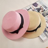 Chapeau de soleil Lady Boater Ruban Rond Plat Top Paille Fedora Panama Chapeaux d'été pour femmes chapeau de paille femmes chapeaux gorras