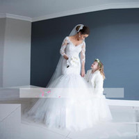 Elegant V Neck Long Sleeves Mermaid Wedding Dresses Backless...