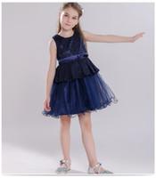 Девушки длина колена вечерние платья принцесса свадьба без рукавов темно-синий ребенок девочка TUTU мясное платье 18052601
