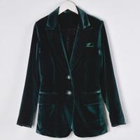 Gros-femme costume de velours mince mode décontractée conçoit blazer long costume veste