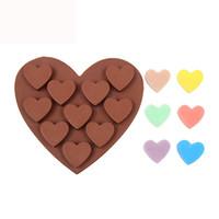 Molde de pastel de silicona 10 enrejados molde de chocolate en forma de corazón para hornear diy