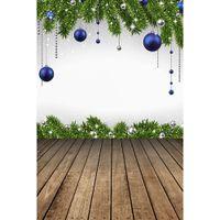 عيد الميلاد التصوير الخلفيات المطبوعة كرات فضية زرقاء الصنوبر الأخضر شجرة يترك الثلج أطفال صور خلفية أرضية الخشب