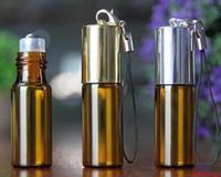Новый Янтарный пустой стеклянный кулон образец флакон духов со стальным роликовым шариком стеклянные флаконы маленький эфирное масло бутылка 5 мл