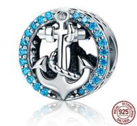 925 prata esterlina romance oceano azul diamante barco âncora encantos, prata 925 contas soltas para diy pulseiras pingentes colar