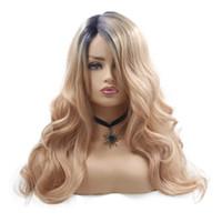 Sentetik Dalgalı Uzun dantel ön peruk ombre peruk ve Siyah kadınlar için Gri Sarışın peruk Ucuz Saç Peruk Cosplay