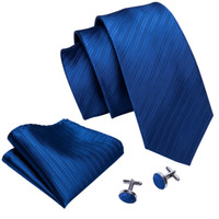 Fast Shipping Necktie Blue Striped Silk Classic Jacquard Woven Tie Hanky Cufflinks Set For Business Wedding Wholesale Free Shipping N-5084