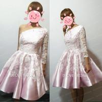 Реальные фото розовые атласные белые кружевные коктейльные платья одно плечо аппликация линия короткое 3/4 с длинным рукавом платье возвращения на родину выпускного вечера платье