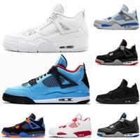 뜨거운 판매 트래비스 선인장 잭 블루 남성 농구 신발 4 4S 흑백 빨간 남자 여성 스포츠 디자이너 신발 운동화 미국 6-13