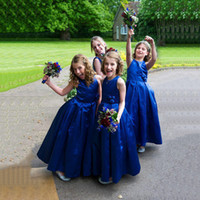 2018 Royal Blue Jewel Flower Girl Dresses Sleeveless A-Line Pageant Gowns Back Back Zipper With Hand Made Flowers Custom Made Cheap Dresses