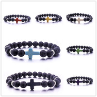 New style 8mm Natural Lava Stone Beads Cross Bracelet Aromat...