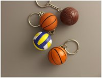 سلاسل المفاتيح البلاستيكية البسيطة لكرة السلة - أقراط الكرة الطائرة Keychian البلاستيكية للهدايا - حامل سلسلة مفتاح السيارة الرياضية