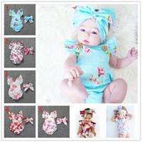 2020 Новорожденные Baby Romper Girls Летние Цветочные Rompers + Headhand 2 Шт. Набор Baby Girls Младенцы Цветочные комбинезоны Одежда для одежды 0-24м