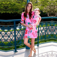 Chinese style Mother daughter dresses 2018 Floral Print Half...