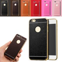 Litchi Grain Luxury Plating Soft Leather TPU Silicone Frame ...