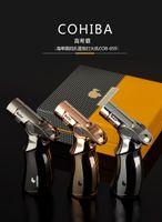 새로운 도착 정품 COHIBA 라이터 세련된 네 스트레이트 화재 토치 방풍 라이터 스트레이트 플러시 시가 라이터