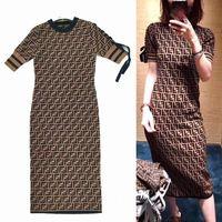 Donne calde di vendita vestiti lunghi sottili Stampa Lettera Dress Midi Abiti Largos De Fiesta Elegante Vestido Vintage Retro Abbigliamento