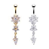 Sexy Belly Button Rings Belly Piercing CZ Crystal Flower Bod...