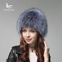 MOSNOW Lujo Gorro de piel de zorro Mujer de invierno de punto sombreros de  las mujeres 7067c8f3eaa1