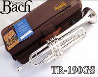 Profesyonel Bach TR-190GS Trompet Gümüş Boru Vücut Kaplama Oyma Bb Trumpete Bırak B Ayarlanabilir Trompeta Enstrüman