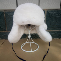 New Winter Boy Girl Bambini Baby Bambini Russia Fur Real Rex Rabbit Cappello paraorecchie Genuine Fur Ear Hat Warm Fur Earflaps Cappelli Caps