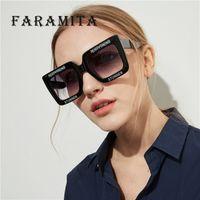 6b2539ccf Faramita marca plastic big ractangle mulheres óculos de sol letra branco  oversized exagerar estranho feminino homens