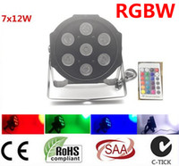 6pcs / lot Kablosuz uzaktan kumanda 7X12W 4IN1 RGBW MİNİ LED Düz Par yıkamak ışık İçin Olay, Disco Parti