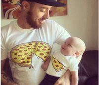 عائلة شعبية مطابقة وتتسابق الأم أطفال لطيف البيتزا القطن بأكمام قصيرة تي شيرت ملابس الأسرة الصيف الأب الأم ملابس الطفل