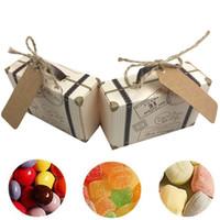 Toptan 50 ADET Mini Bavul Kraft Şeker Kutusu Düğün Hediye Kutuları Doğum Günü Partisi Bebek Duş Kutusu