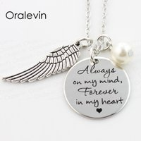ALWAYS ON MY MIND FOREVER IN MY HEART Memorial Pendant Charms Necklace Jewelry Gift For Her 22MM, 10Pcs/Lot, #LN311