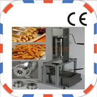 Envío gratuito uso comercial manual de acero inoxidable Churros español fabricante de la máquina con 5 unids boquillas con churros freidora y soporte de churros