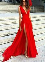 Uzun Kırmızı Bölünmüş Gelinlik Modelleri Seksi Derin V Boyun Örgün Abiye Uzun Pileli Tül Parti Abiye