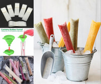 Buz Popsicle Kalıpları Çanta Pop Kalıp Kılıfı Zip Mühürler Ile Katlanabilir Huni DIY Zip-Top Buz Pop Çanta Buz Şeker veya Dondurucu Keseler, Meyve Sebze Dondurucu Tüpler
