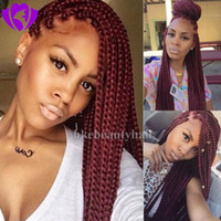 Hotselling burgundy Braided lace wig hand tied Glueless High...