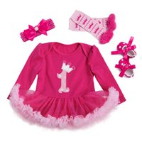 Baby Girls 4pcs Sets Long Sleeve Cotton Rromper Rose Red Ruf...