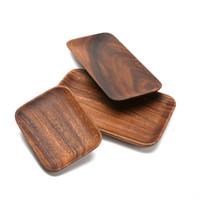 Platos de fruta de madera Bandeja rectangular Bandejas de madera seca Merienda Dulces Titular de la torta Platos de almacenamiento de madera Herramienta de la cocina