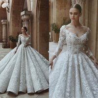2018 Brand Luxury Wedding Dress Custom Made Illusion V Neck ...