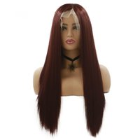 Fashion &Hot 28inch Long Lace Front Wig Dark Red Color Strai...