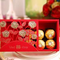 Çin Düğün Şeker Kutusu Kırmızı Çift Mutluluk Kağıt Gül Çiçek Çiçeği Oymak Çikolata Çanta Parti Hediye Dekor ZA6313