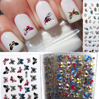 24 fogli / set Blue Butterfly Nail Tips Decorazione Nail Sticker 3D Beauty Nail Wraps Instant Manicure Art